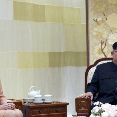 Pohjois-Korean johtaja Kim Jong-un ja hänen puolisonsa Ri Sol-ju. Ri on kuvassa vasemmalla.