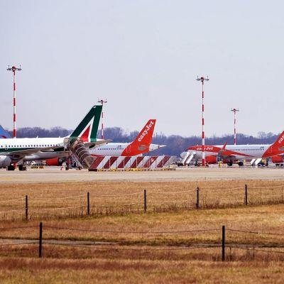 Kuvassa neljä lentokonetta Milanon lentokentällä.