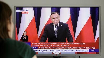 Polens president Andrzej Duda talar i polsk TV.