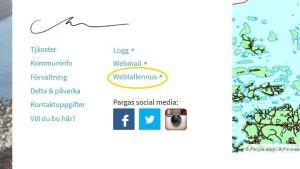 """Skärmdump från Pargas stads webbplats, som visar en länk till """"Webtallennus"""""""