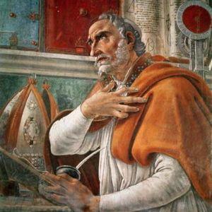 Målning av Sandro Botticelli från ca 1480 som föreställer Augustinus.