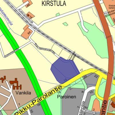 Karttakuva Hämeenlinnan Paroisten ja Kirstulan alueelta.