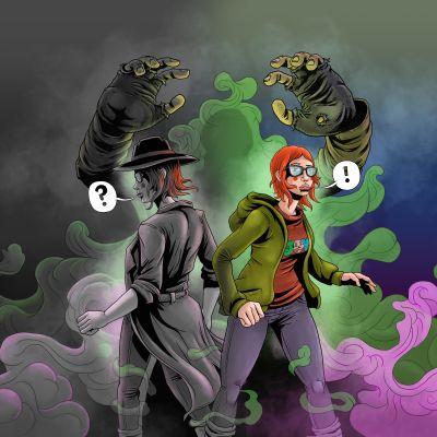 Divine Consultants - The Beginning -sarjakuva-animaation päähenkilö Joyn kaksi minää. Vasemmalla mustavalkoinen etsivä-Joy ja oikealla 16-vuotias Joy Amicable.