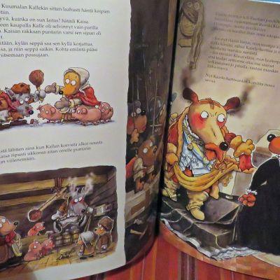 Aukeama, jossa kunnaksen koira-Kaarle nipistää arkussa makaavaa sianhahmoista Klaus Flemingiä kärsästä.