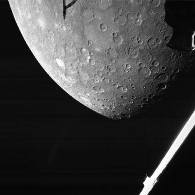 Svartvit bild av Merkurius, fotograferad med hjälp av rymdsonden Bepicolombo.