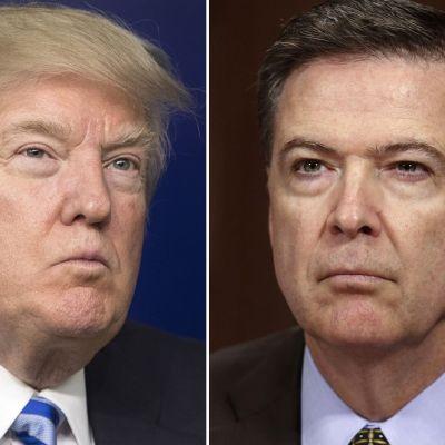Rinnakkaiset kuvat Trumpista ja Comeysta. Miehillä on kasvoillaan yrmeät ilmeet.