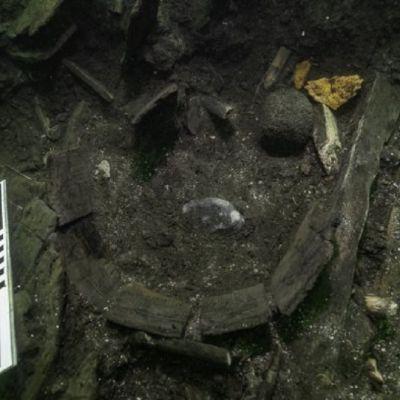 Kaarevia lautoja ja kalanpaloja ja löytöjen koosta kertovat metrinmitta merenpohjassa.