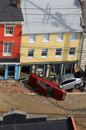 Ellicott City efter översvämning i juli 2016.