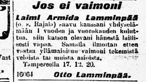 Vanha lehtileike avioerokuulutuksesta vuodelta 1920.