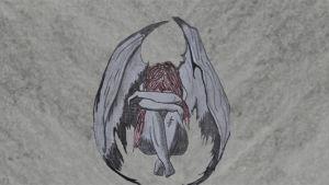 piirustus, jossa tyttö istuu kädet polvien ympärillä