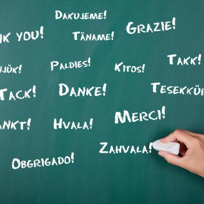 Eri kielillä kiitos liitutaudulla