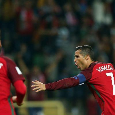Cristiano Ronaldo juhlii maalia.