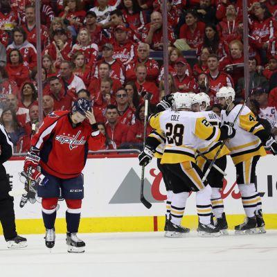 Pittsburgh Penguins juhlii Jake Guentzelin maalia Washington Capitalsia vastaan.