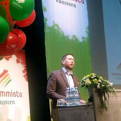 Vasemmistoliiton Paavo Arhinmäki jäähyväispuhe puheenjohtajana.