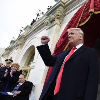 Trump seisoo tummassa puvussa käsi nyrkissä punaisten verhojen alla Capitolilla.