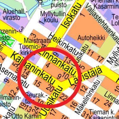 Oulun keskustan kartta Kajaaninkatu ja Lävistäjä