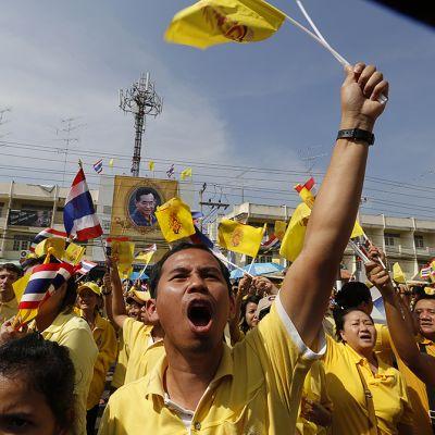 Ihiset hurraavat Thaimaan kuninkaan puheelle.