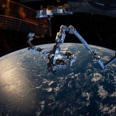 Moninivelinen roborttivarsi, taustalla ISS:n aurinkopaneeli  ja maapallon kaareutuva pinta.