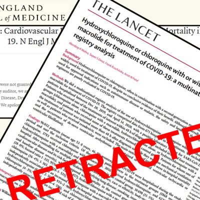 """The Lancet ja The New England Journal of Medicine -lehtien ilmoitus tutkimusten perumisesesta. Päällä iso punanen leima """"retracted"""" eli vedetty takaisin."""