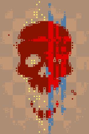 Ett pixelartkonstverk av en dödskalle