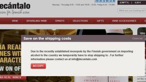 hemsida för utländsk vinbutik