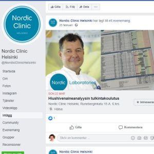 Bengt Kevin har hållit kurs i tolkning av spårämnesanalyser gjorda på hårprover på Nordic Clinic i Helsingfors i mars 2020. Bilden från Nordic Clinics Facebooksida.
