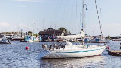 En segelbåt står förtöjd i en brygga i en gästhamn. Himlen är klarblå.