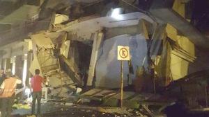 En rasad byggnad i Oaxaca i Mexiko efter ett 8,2 magnituders jordskalv.