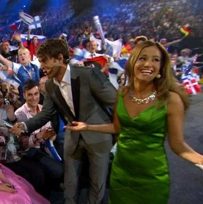 Krisse Salminen, Mikko Leppilampi ja Jaana Pelkonen Helsingissä pidetyissä Euroviisujen finaalissa 2007.