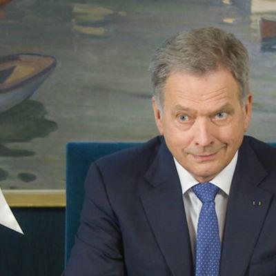 President Sauli Niinistö höll sitt nyårstal den 1 januari 2017.