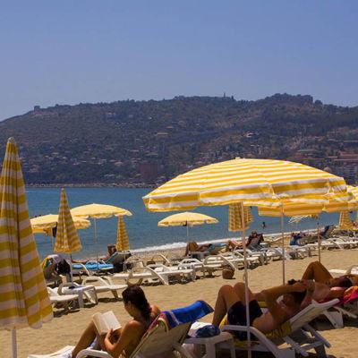 Strand i Alanya, Turkiet.