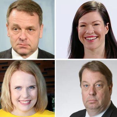Montage med porträtt på Jan Vapaavuori, Anni Sinnemäki, Veronika Honkasalo, Pilvi Torsti, Mika Raatikainen, Pentti Arajärvi, alla är politiker i Helsingfors fullmäktige.