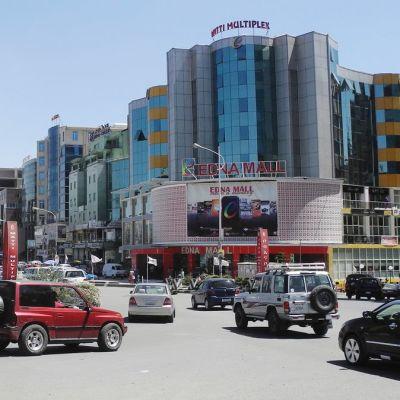 Ostoskeskuksesta Addis Abebassa, Etiopian pääkaupungissa.
