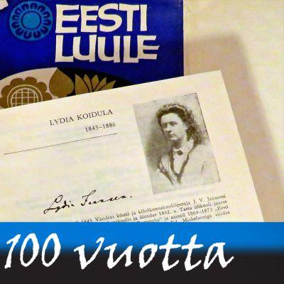 Eesti luule eli Viron runous -kirjan kansi ja kirja auki kohdasta, jossa on Lydia Koidulan kuva ja nimikirjoitus.