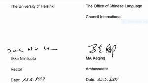 Två namnteckningar, rektor Ilkka Niiniluotos och ambassadör Ma Keqings