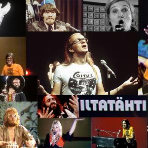 Iltatähden vuoden 1974 esiintyjiä kollaasissa.