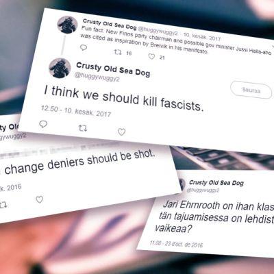 En bild med skärmdump på Twitter-inlägg som innehåller hotfulla meddelanden.