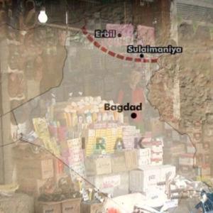 Irakin kartta, jossa merkittynä Bagdad ja Kurdistanin raja sekä Erbilin ja Sulaimaniyan kaupungit.
