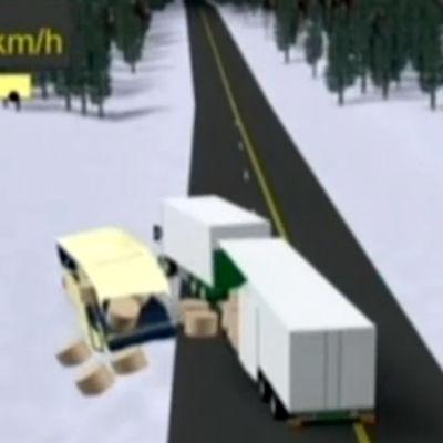 Kuvakaappaus animaatiosta, jossa esitetään Konginkankaan onnettomuuden kulku
