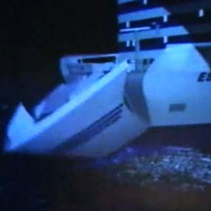Animaation Estonian uppoamisen etenemisestä tv-uutisissa 3.12.1997