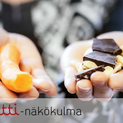 Toisessa kädessä porkkana, toisessa suklaata ja pähkinöitä