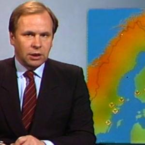 Kari Toivonen kertoo uutisissa Pohjolan kohonneista säteilyarvoista (28.4.1986)