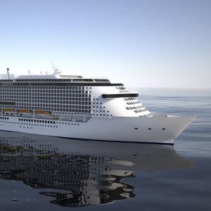En animerad bild av ett stort kryssningsfartyg på havet.
