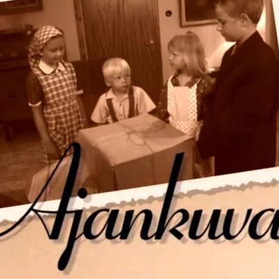 Lapsien näyttelemä perhe Ajankuvat-lastensarjassa (2004)