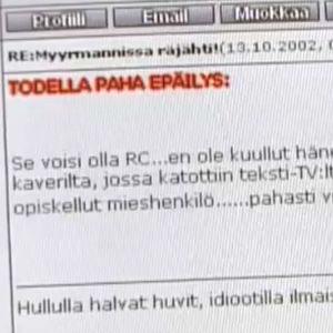 Kuvakaappaus netin keskustelupalstalta uutisissa 13.10.2002
