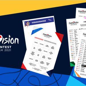 Kuvakollaasi Euroviisujen oheismateriaalista: Viisukaraoke, bingo ja pistelomakkeet.