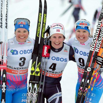 Krista Pärmäkoski, Marit Björgen ja Kerttu Niskanen