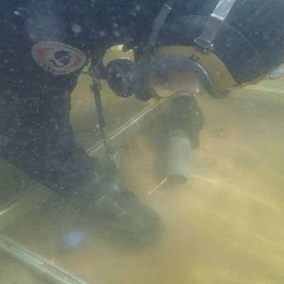 Sukeltaja tutkii veden pohjaa.