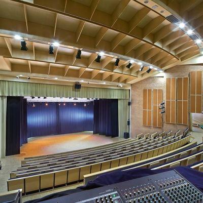 En konsertsal med flera hundra platser. träkonstruktioner, bänkar i trä och blått, belyst scen.