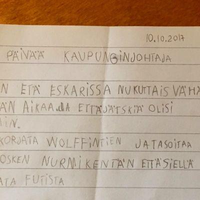Kirje kaupunginjohtajalle